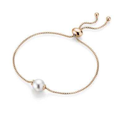 Perlen Armband Silber Vergoldet